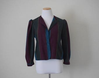 Vintage women's striped light jacket/ retro/ bohemian/ size S
