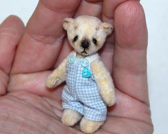 "Miniature teddy bear 2,2 inch Teddy Bear Miniature Teddy Bear OOAK White teddy ""Danilka"""