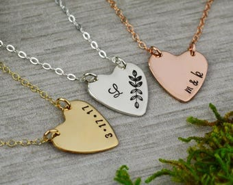 Custom Heart Bar Necklace • Personalized Initial Necklace • Customized Wedding Date • Sterling Silver, Rose Gold, and Gold Necklace