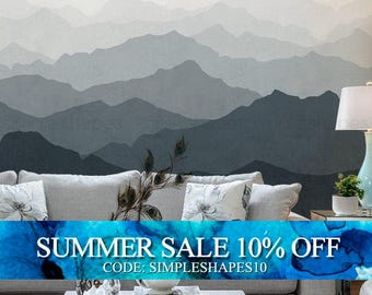 Mountain Mural Wallpaper, Grayish Navy, Ombre Mountain Extra Large Wall Art, Peel and Stick Wall Poster