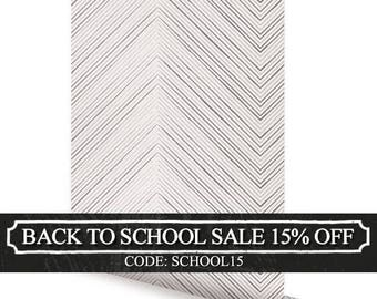 Chevron Lines Grey Peel & Stick Fabric Wallpaper Repositionable