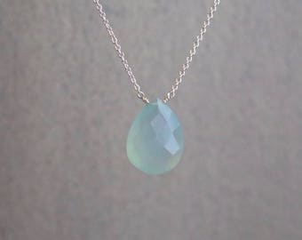 Aqua Chalcedony Necklace - March Birthstone - Sterling Silver