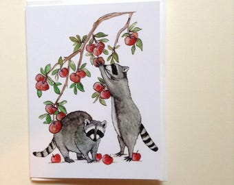 Happy fall raccoons picking apples greeting card 4.25x5.5 blank inside