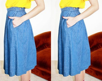 70s Denim Circle Skirt / High Rise Pleated Full Midi Skirt / S 26 Inch Waist