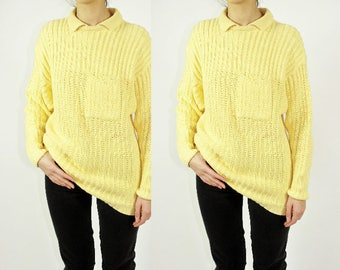 90s Yellow Knit Collared Sweater / Unique Chunky Pullover Jumper / M L Medium Large