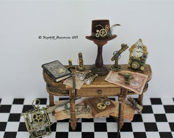Dollhouse Miniature Mad Scientist Steampunk Inventors Sideboard Bench in 1:12 scale