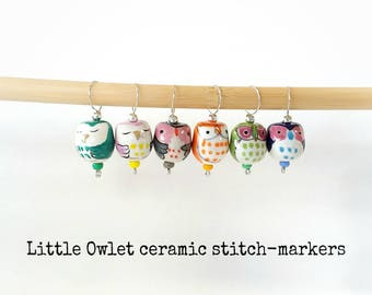 Stitchmarkers -fixed for knitting ...6 Little Owls