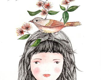 small brave girl with birds, water color print