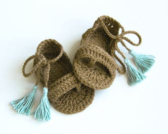 HAZEL Boho Baby Girl Sandals with Tassels,Summer Shoes, Cotton Baby Sandals, Brown Ice Blue, Size 0-3,3-6,6-9,9-12 months,Made to Order