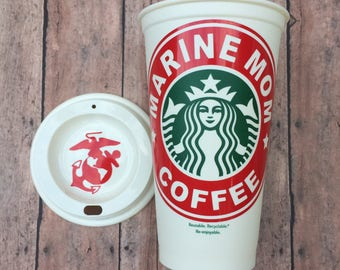 Marine Mom & Dad Personalized Starbucks Cup, USNA, Reusable Coffee Cup, BFA free plastic cup