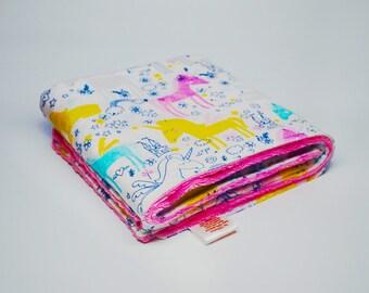 Unicorn Baby Blanket - Minky Baby Blanket - Pink and White Baby Blanket - Baby Girl Gift - Unicorn Blanket - Baby Shower Gift - Baby Blanket