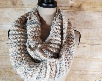 Chunky Infinity Scarf, Knit Scarf, Chunky Cowl, Neutral Cowl, Infinity Scarf