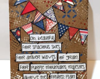Patriotic Wall Art, Red, White and Blue Banners, Patriotic Decor, America the Beautiful song