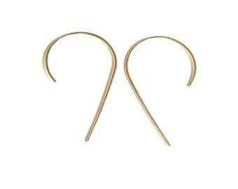 Gold hook earrings Minimalist gold-filled earrings Gold-filled arc earrings Gold partial hoops