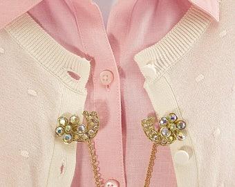 Rhinestone Flower Sweater Clips, aurora borealis rhinestones, cardigan clips, collar clips, scarf clips,retro style, sweater accessory,