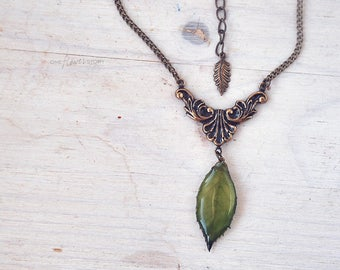 Green  Blackberry leaf Necklace- real leaf in resin- nature inspired -romantic gift- Oxidized Brass