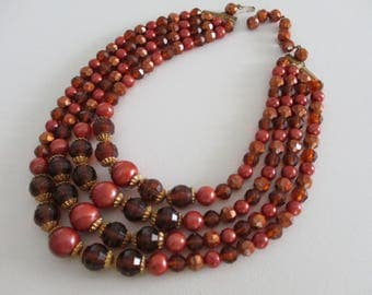 Vintage Retro Multi Strand Bead NecklaceBrown Copper Gold Colors ~ Free Shipping