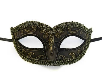 Shades of Black and Gold Masquerade Mask, Black Masquerade Mask, Mask, Masquerade Ball Masks, Masquerade Mask Women