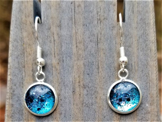 Blue Hand Painted Glass Glitter Drop Earrings