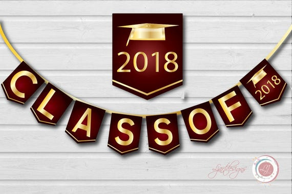 digital maroon and gold graduation banner class of graduate