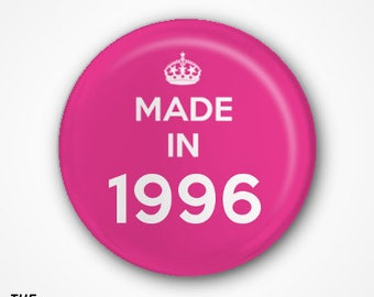21st Birthday Pin Badge or Magnet. Available as 2.5cm Pin Badge or 3.8cm Pin Badge or Magnet
