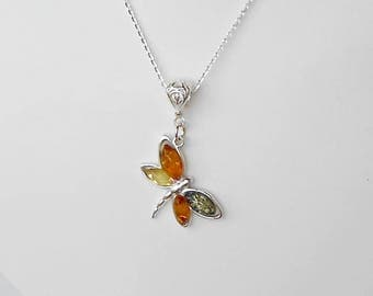 "Baltic Amber Dragonfly pendant in Set in Sterling Silver with 18"" Sterling Silver chain."
