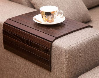 Sofa Tray Table BROWN, tray table, small apartment, beer table, ottoman wooden trays, TV tray, sofa arm table, sofa arm tray, armrest table
