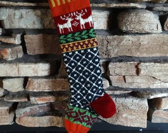 Personalized Christmas Stockings, Knit Christmas Stocking, Knitted Christmas Stockings, Christmas Stocking, Red Reindeer, Fuchsia Snowflakes
