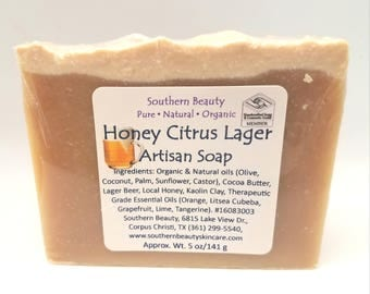 Honey Citrus Lager Handmade Soap, Artisan, Beer, Moisturizing, Mens' Gift, Father's Day, Dad, Male Birthday, Hops, Orange