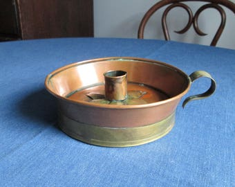 Vintage Rustic Copper and Brass Candle Holder