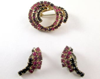 Vintage Brooch / Pin and Earring Set Gold Tone Pink and Cranberry / Red Rhinestones 1960s