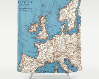 Map of Europe Shower Curtain  - Vintage Map - England, France, Italy, Spain, Germany, travel, wanderlust, home Decor - Bathroom - maps