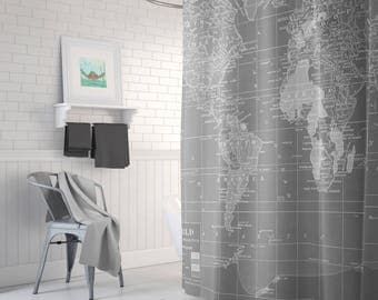 Gray World  Map Shower Curtain - Gray and white, Home Decor travel decor wanderlust - industrial chic, Bathroom -Minimalist Grey Vintage Map
