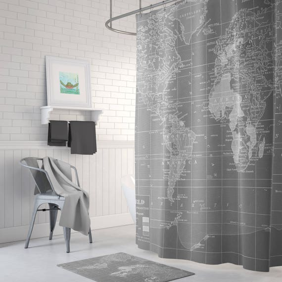 gray world map shower curtain gray and white home decor. Black Bedroom Furniture Sets. Home Design Ideas