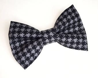 Bow Tie , Houndstooth Bow Tie, Black and Grey bow tie