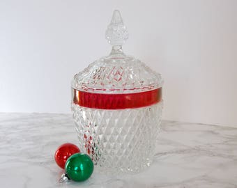 Vintage Hobnail Glass Ruby Flash Ice Bucket - Cranberry Glass Ice Bucket - Cut Glass Ice Bucket