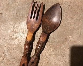 Vintage Handcarved Wooden Fork and Spoon Set