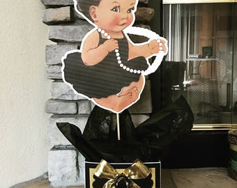 Baby girl centerpiece baby shower, royal baby, centerpiece, baby shower, princess baby, princess party, 1st birthday, african american, quee