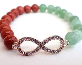 Sunstone bracelet , Aventurine bracelet , Beaded bracelet , Gift womans , Fertility bracelet , Gift for girlfriend , Gift for her