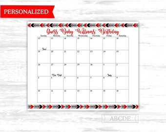 Due date calendar Personalized Red Black Woodland boho tribal Baby Shower Guess Baby Birthday predictions Due Date Calendar (PDWSI515)