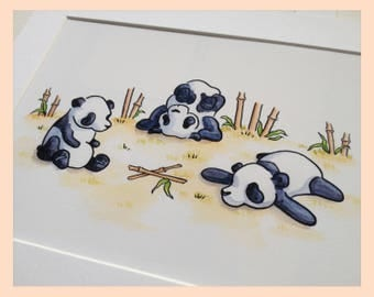 "Playful Pandas. Nursery wall art, watercolour illustration 8""X10"" panda bear mounted children's print"