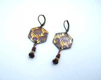 Boucles d'oreilles bohèmes - boho chic - style asiatique - cuivre émaillé - look rustique - pièce unique - les bijoux de francesca