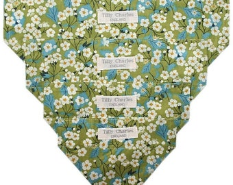 SPRING SALE Liberty Tana lawn MITSI green dog or cat slide on bandana neckerchief ideal gift *handmade in the Uk*