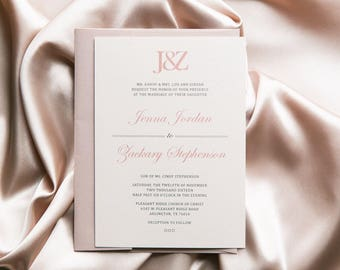 SAMPLE Classic Simple Modern Dusty Rose Pink and Grey Monogram Wedding Invitation, Includes Envelope Liner with RSVP