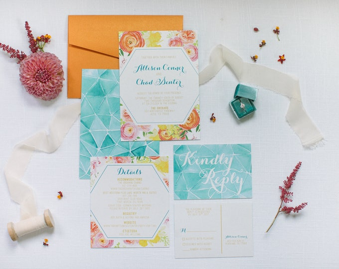 Modern Geometric Water Color Wedding Invitation in orange, Yellow Teal, Turquoise & Pink, Details and RSVP (Other Color Options)