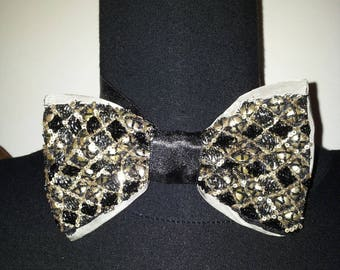 Tie bow tie black and silver embroidery