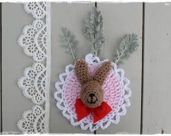 sweet Bunny picture, pink crocheted