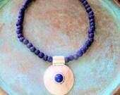 Rustic blue ghana glass necklace, Indigo blue necklace, rustic indigo blue necklace, rustic tribal ethnic necklace, recycled glass necklace