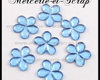 LOT 30 flowers 10mm blue embellishment stick