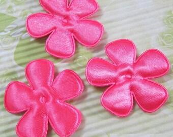 SET of 6 flowers 25mm pink neon applique embellishment 204